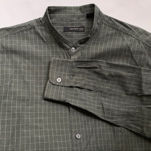 Kenneth Cole :: gray windowpane plaid dress shirt